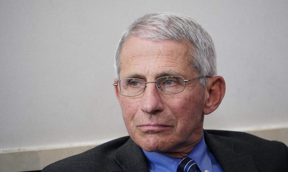 Director of the National Institute of Allergy and Infectious Diseases , Dr Anthony Fauci listens during the daily briefing on coronavirus at the White House on 6 April 2020.