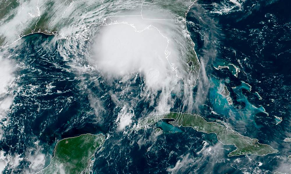 This RAMMB/NOAA satellite image shows Hurricane Sally off the Gulf of Mexico on September 14, 2020, at 15:10UTC.