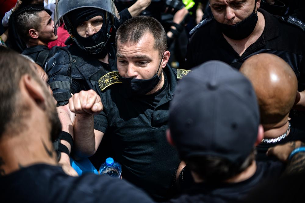 Eight protesters were arrested during the rally on Thursday afternoon.