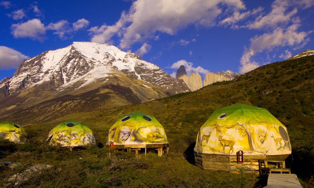 High camp: eco tents in the shadow of the Torres del Paine National Park.
