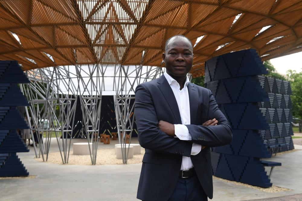 Francis Kéré at the launch of his Serpentine pavilion.