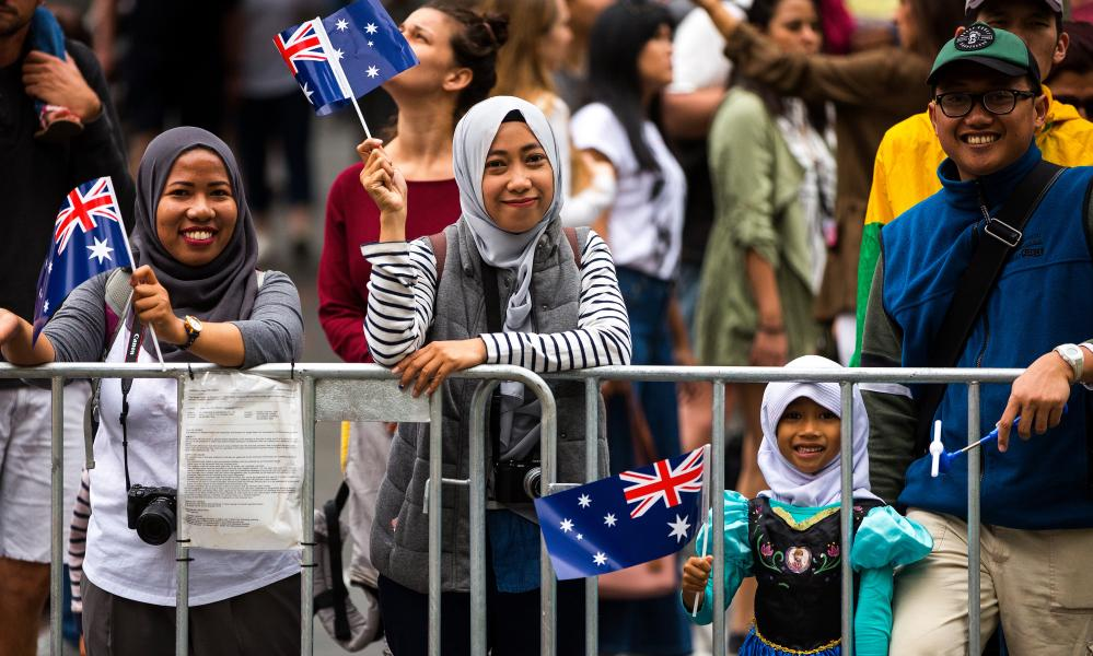 Images of Melbourne's Australia Day parade on Swanston Street.