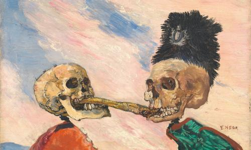 James Ensor, Skeletons Fighting over a Pickled Herring (detail), 1891. Oil on panel. 16 x 21.5 cm.