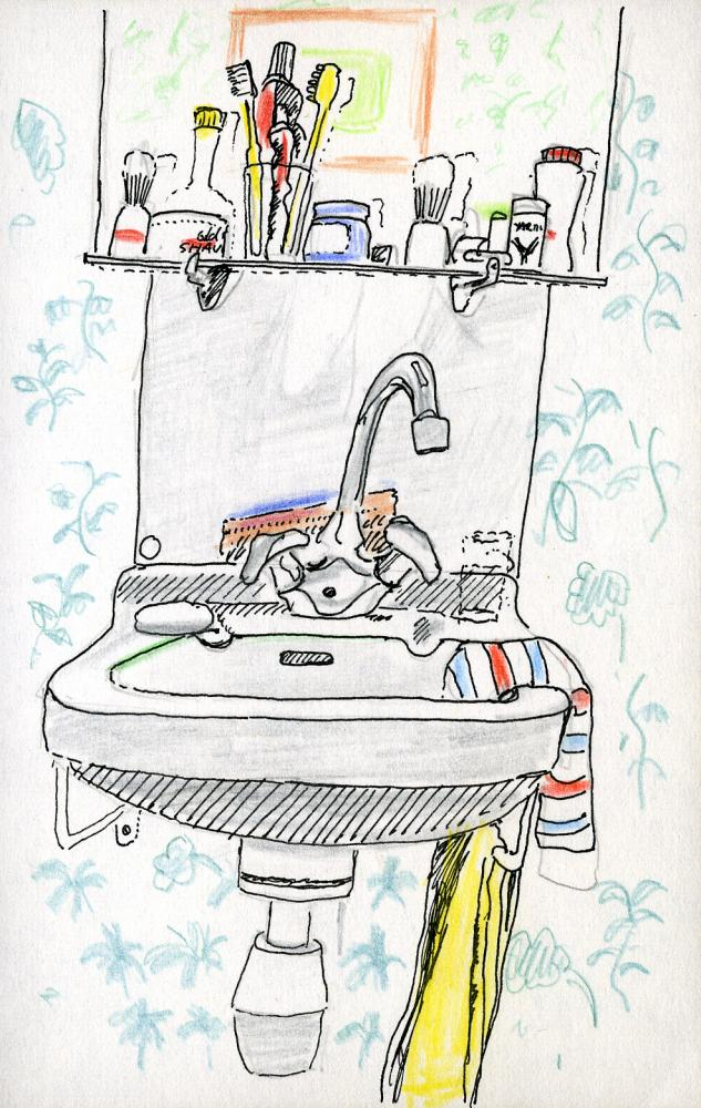 Hotel wash basin sketch by Mike figgis