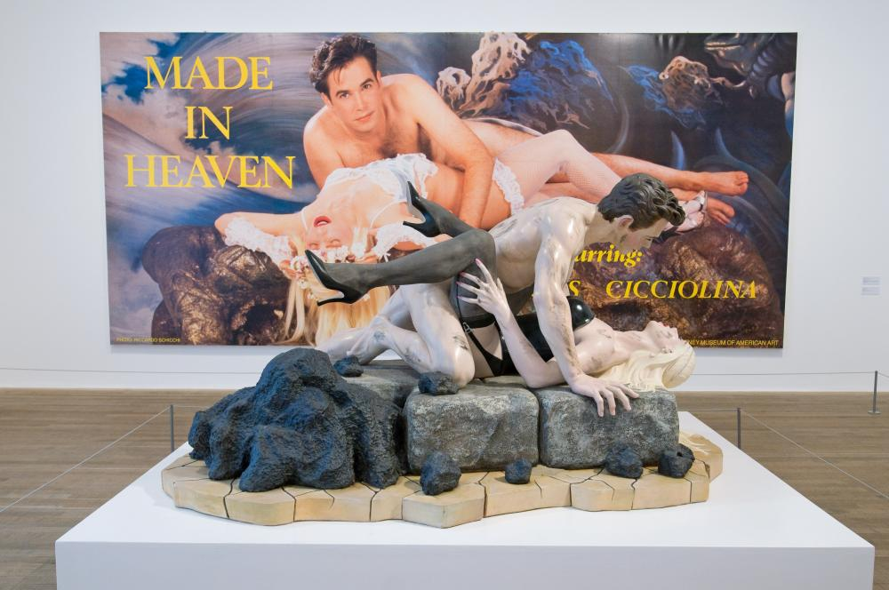 Jeff Koons's Dirty - Jeff on Top (1991) with Made in Heaven (1989) behind it.