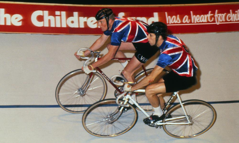 Jim Moore, right, with his team-mate Tony Gowland, taking part in the Skol 6-Day track cycling event at Wembley, London, 1968.