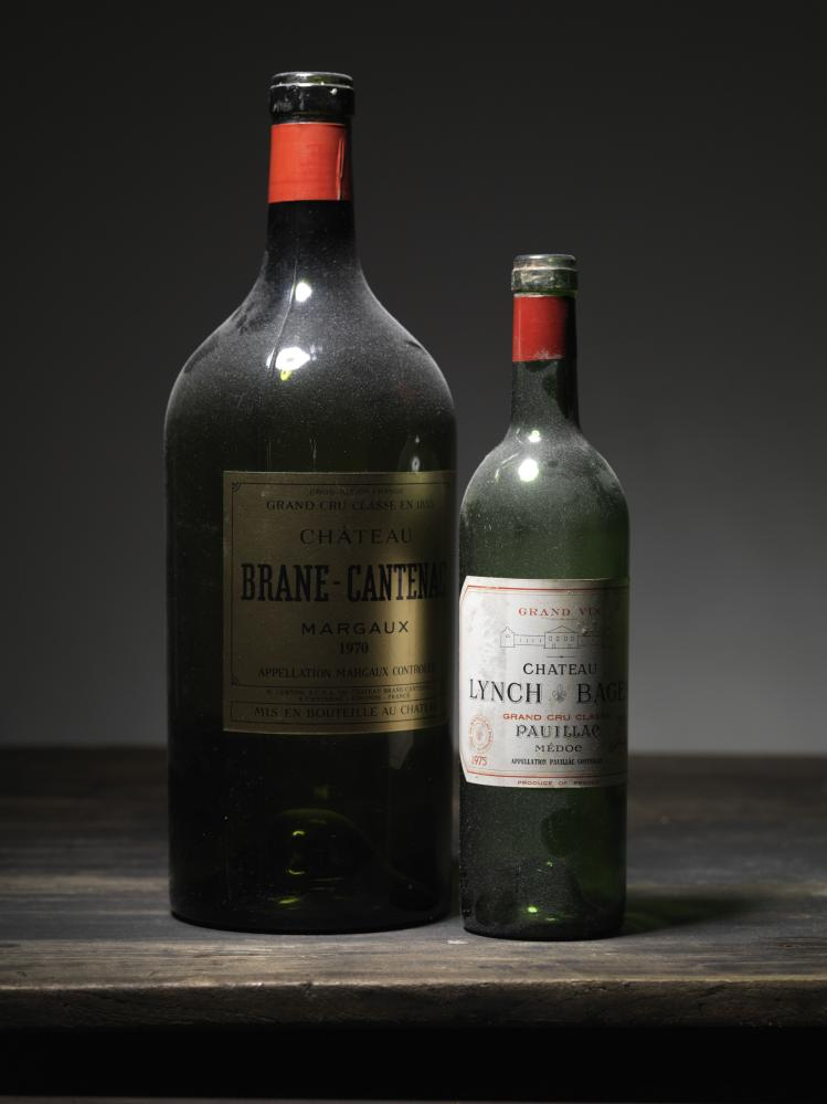 Two bottles of red Bordeaux wine