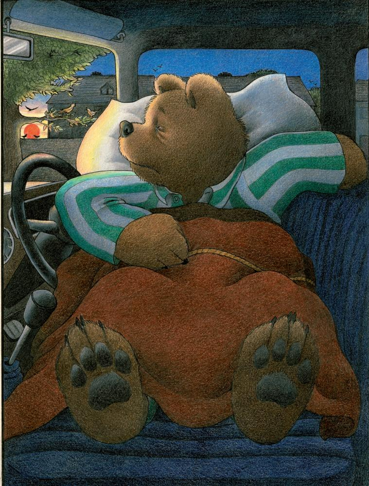 An illustration by Jill Murphy from Peace at Last (1980), featuring the Bear family.