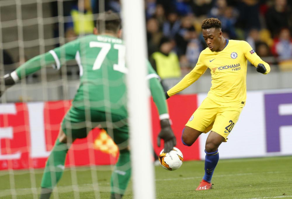 Hudson-Odoi scores Chelsea's fifth goal.