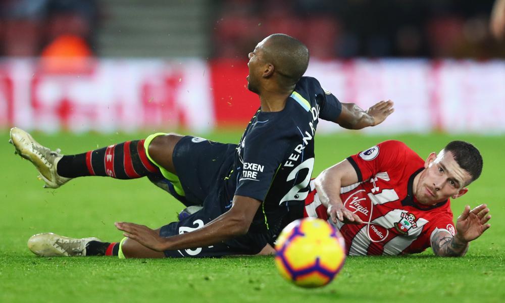 Pierre-Emile Hojbjerg was sent off for this foul on Fernandinho