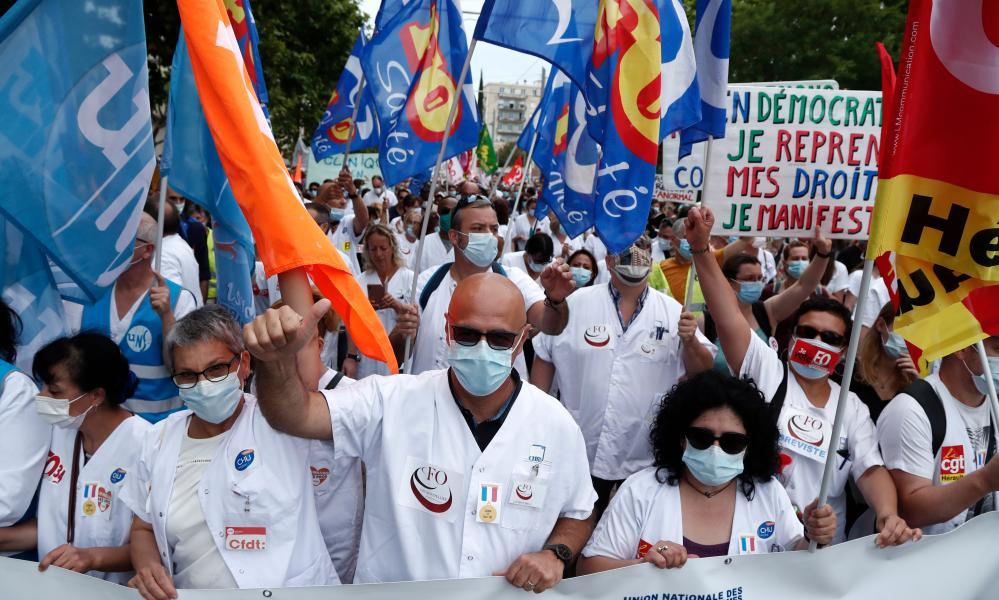 Hospital workers protest in Montpellier, France, against government policies and demand better employment conditions. Unions have urged members to take part in a nationwide one-day strike and demonstrations.