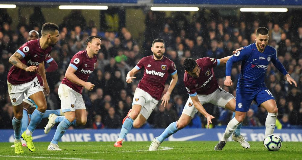Eden Hazard proved a constant menace to West Ham throughout the match.