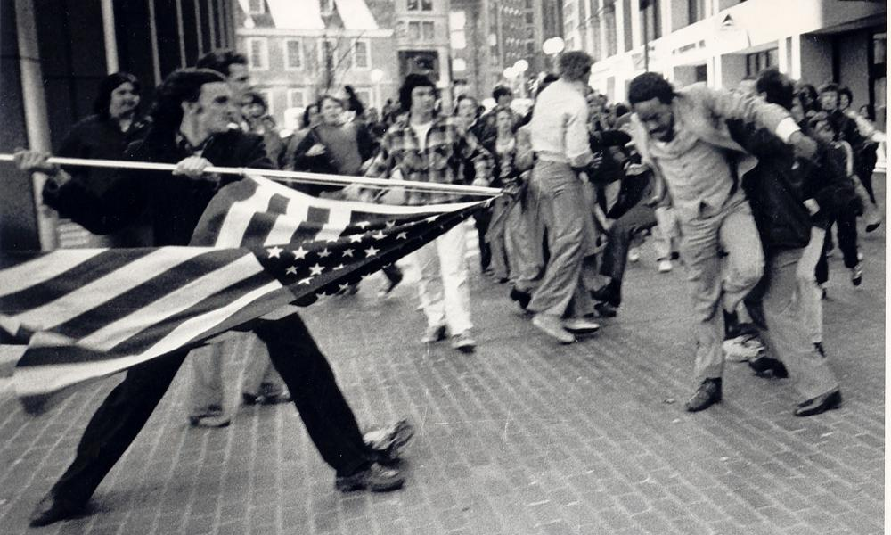 Stanley Forman's 1976 Pulitzer prize-winning photo of an anti-desegregation demonstrator attacking a black man in Boston.