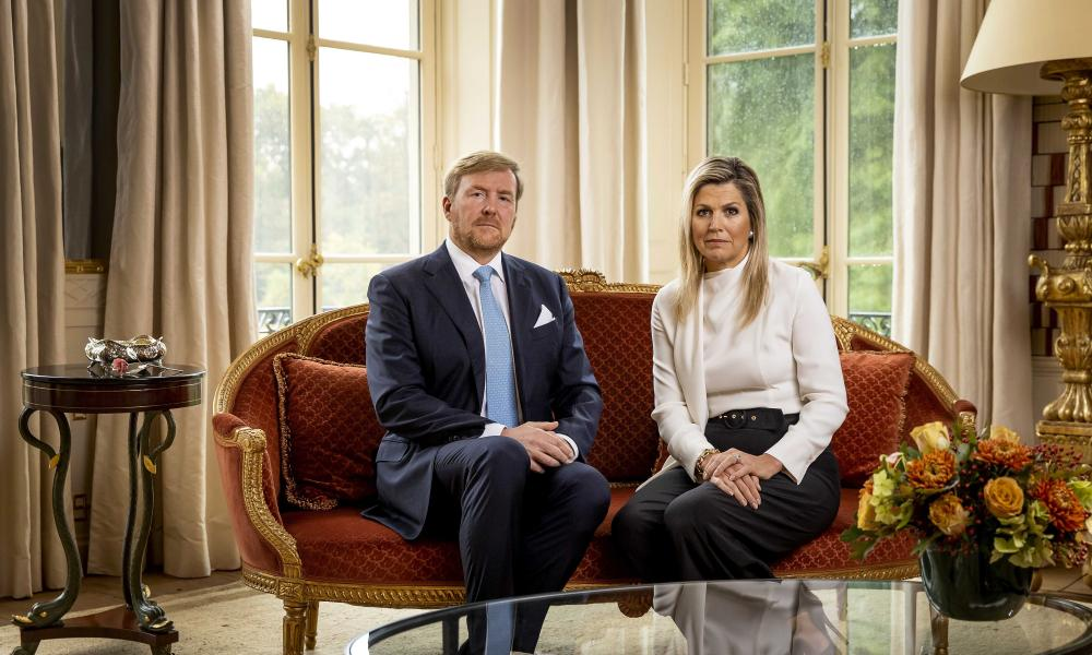 King Willem-Alexander (L) and Queen Maxima look on during the recording of a personal video message in which the king discusses the cancellation of their holiday to Greece, in The Hague, The Netherlands, 21 October 2020.