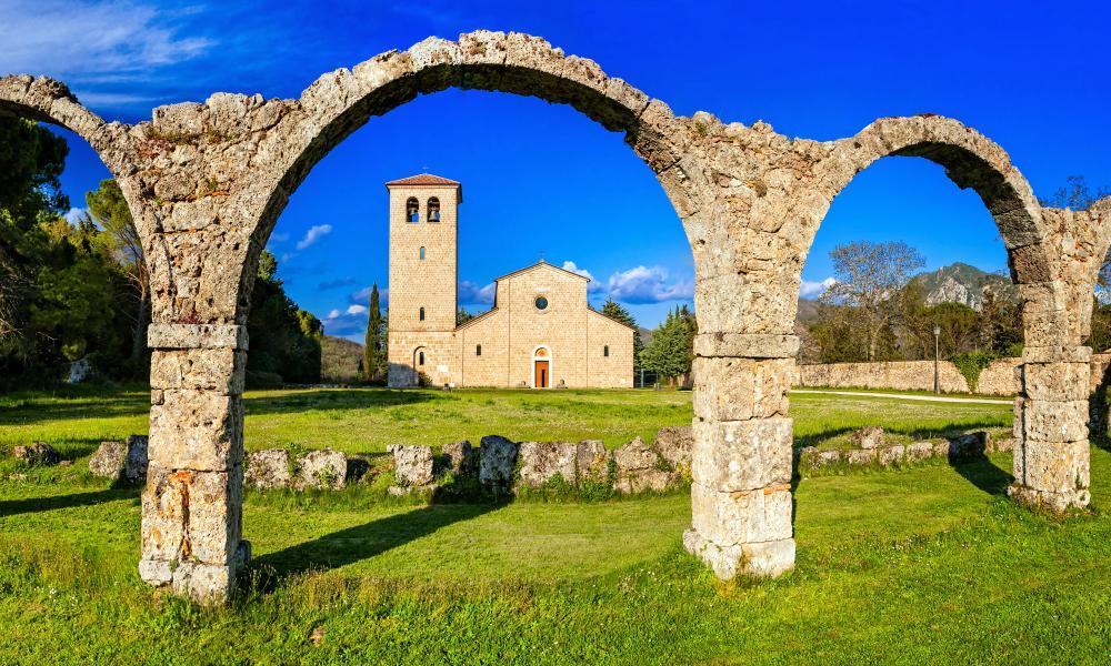 The Abbazia del Volturno monastery, with its medieval arches.