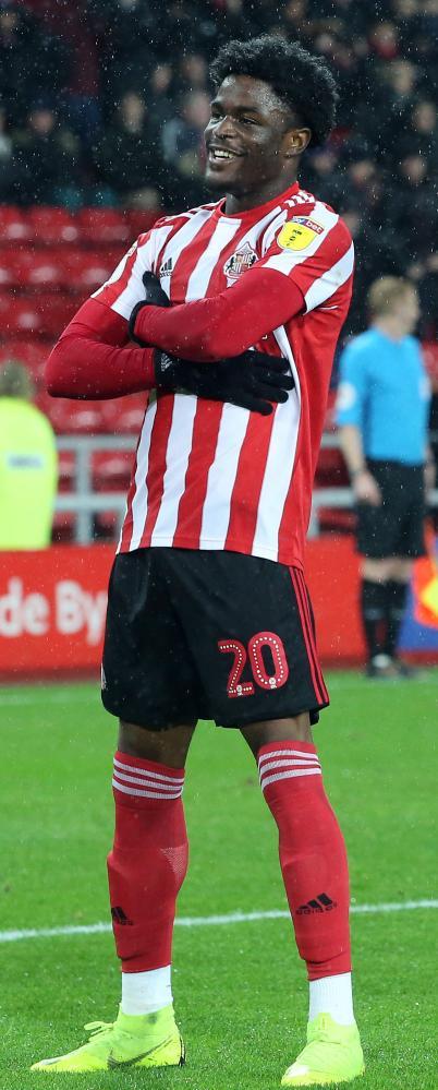 Josh Maja celebrates after scoring for Sunderland.