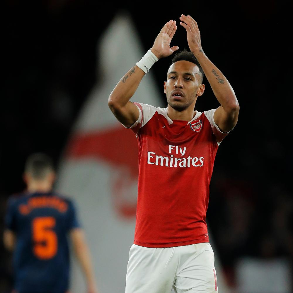 Arsenal's Pierre-Emerick Aubameyang applauds the fans after their 3-1 win.
