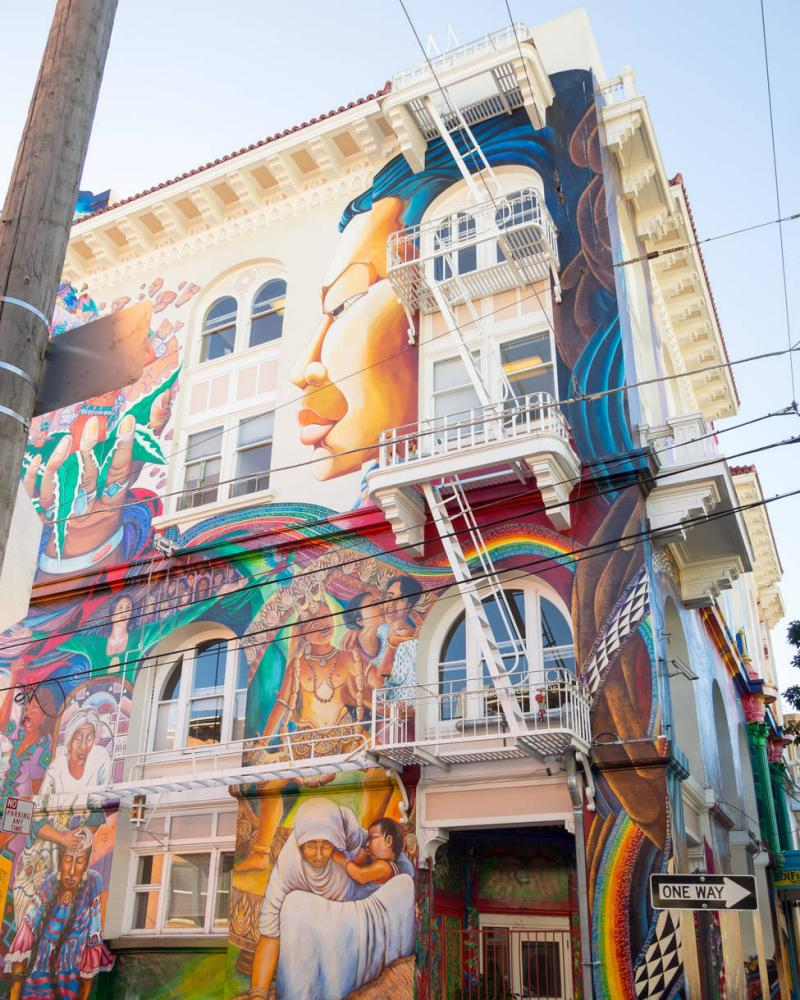 The stunning MaestraPeace mural on the exterior of The Women's Building in the Mission District of San Francisco