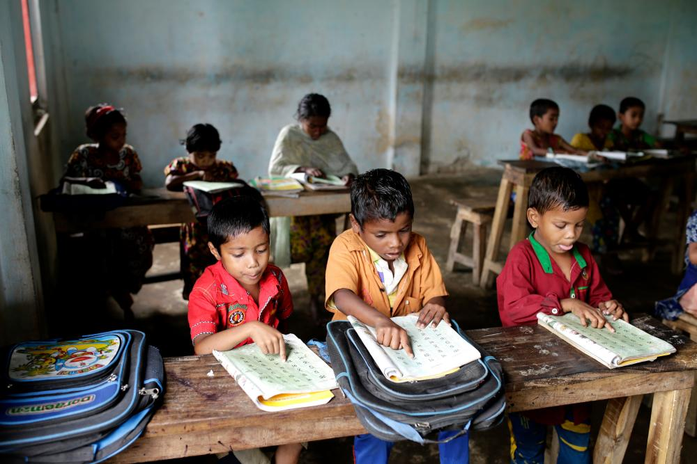 Children attend classes at the Gulni Tea Garden Primary School, where they learn about hygiene and sanitation.