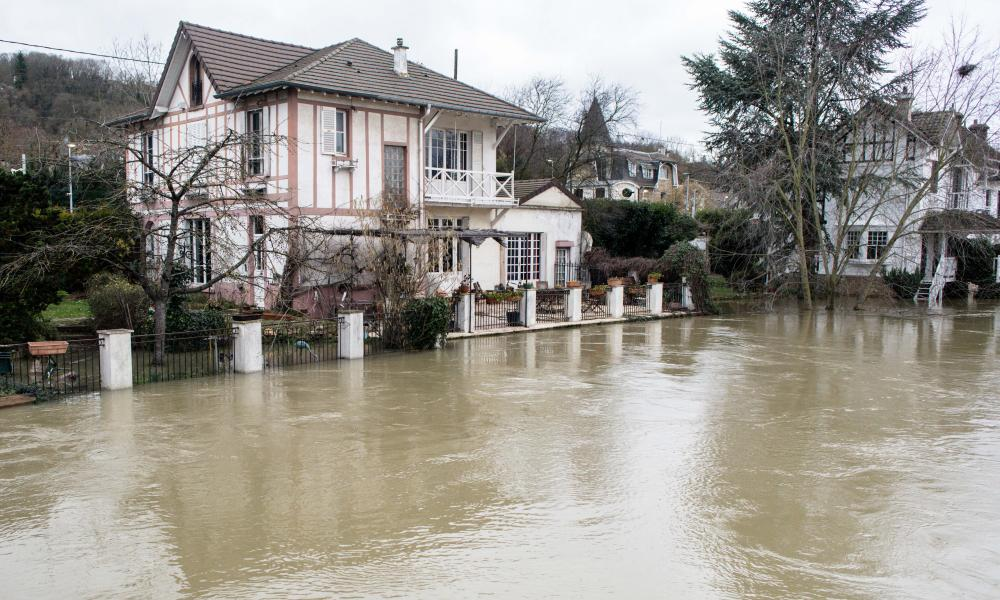 Flood of the Seine in the Yvelines on January 29, 2018 in Villennes sur Seine, France.