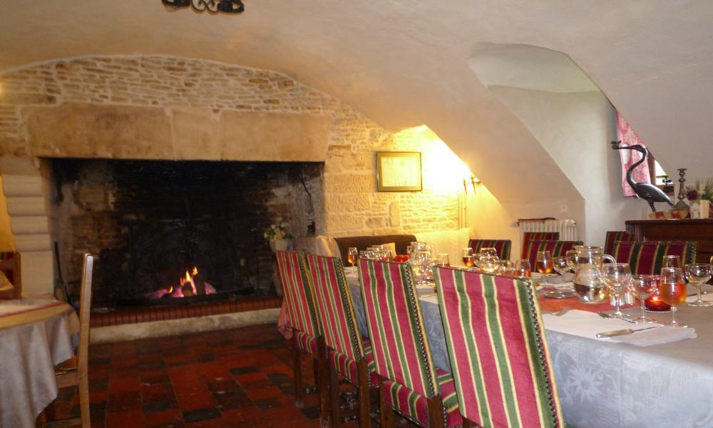 The vaulted dining room at Le Manoir de la Rivière, Normandy, France.