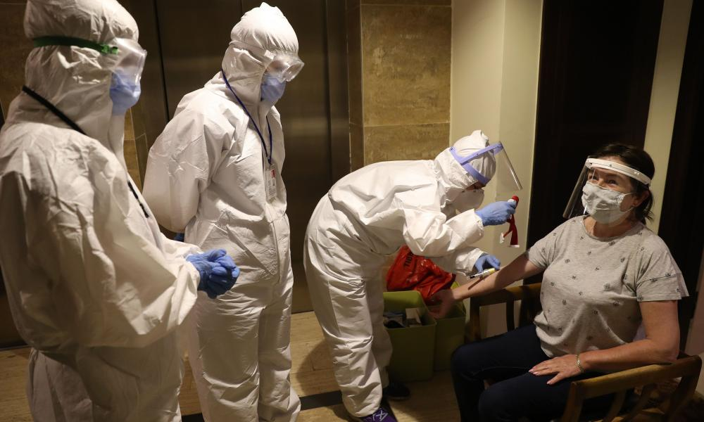 A person undergoes random Covid-19 antibody testing in Ankara, Turkey.
