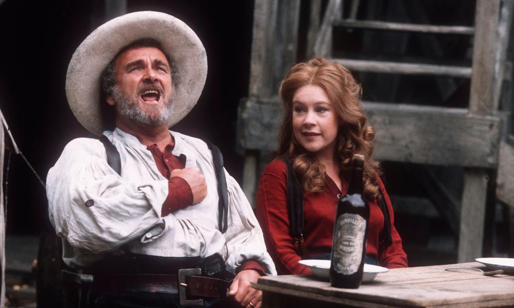 Tony Selby, as Ben Rumson, with Claire Carrie in the musical Paint Your Wagon at Regent's Park Open Air theatre, in 1996. His performance earned him an Olivier award nomination.