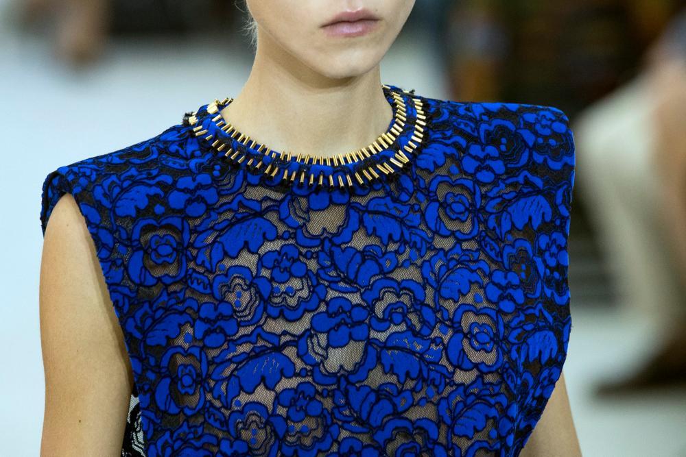 Electric blue caviar lace at the Louis Vuitton show.