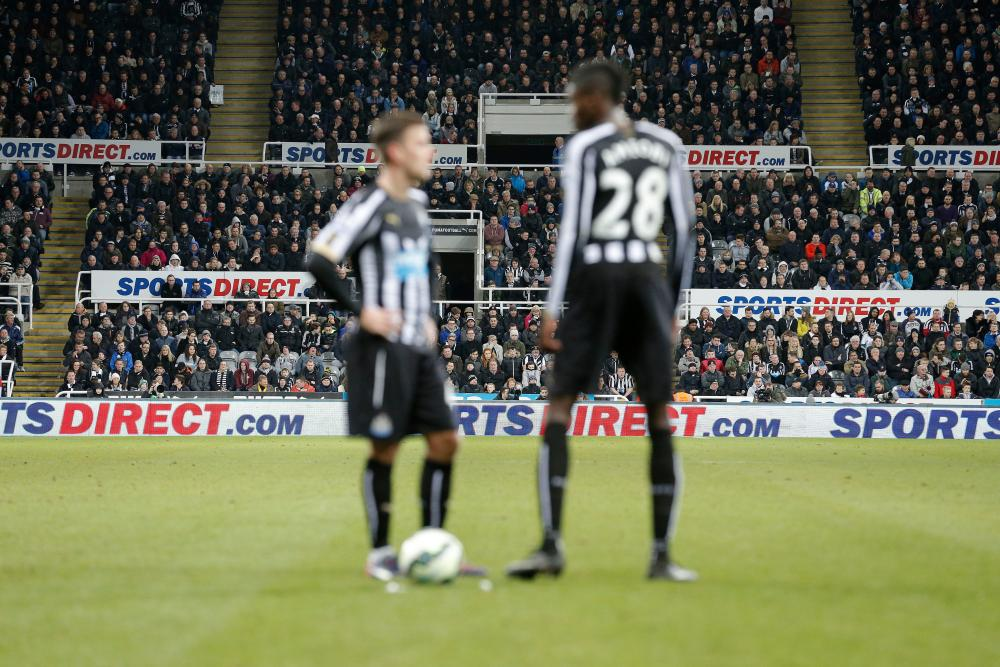 Sports Direct branding at St James' Park during Newcastle's defeat to Manchester United in March 2015