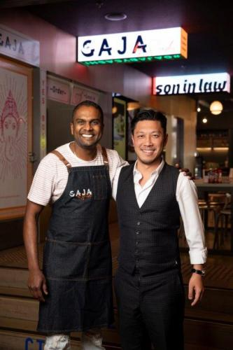Michael Mai with 2018 Masterchef Winner Sashi Cheliah at Melbourne's HWKR Pop-Up.