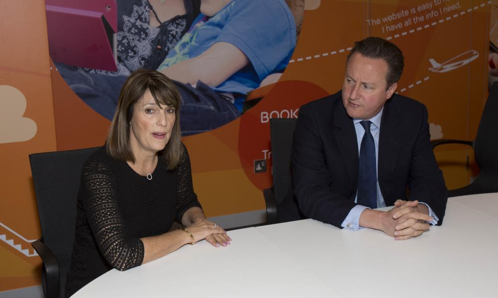 EasyJet chief Carolyn McCall with UK PM David Cameron at the airline's Luton airport headquarters last month.