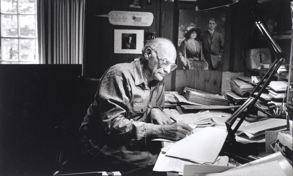 Arthur Miller in his study, in Roxbury, Connecticut in 1987.