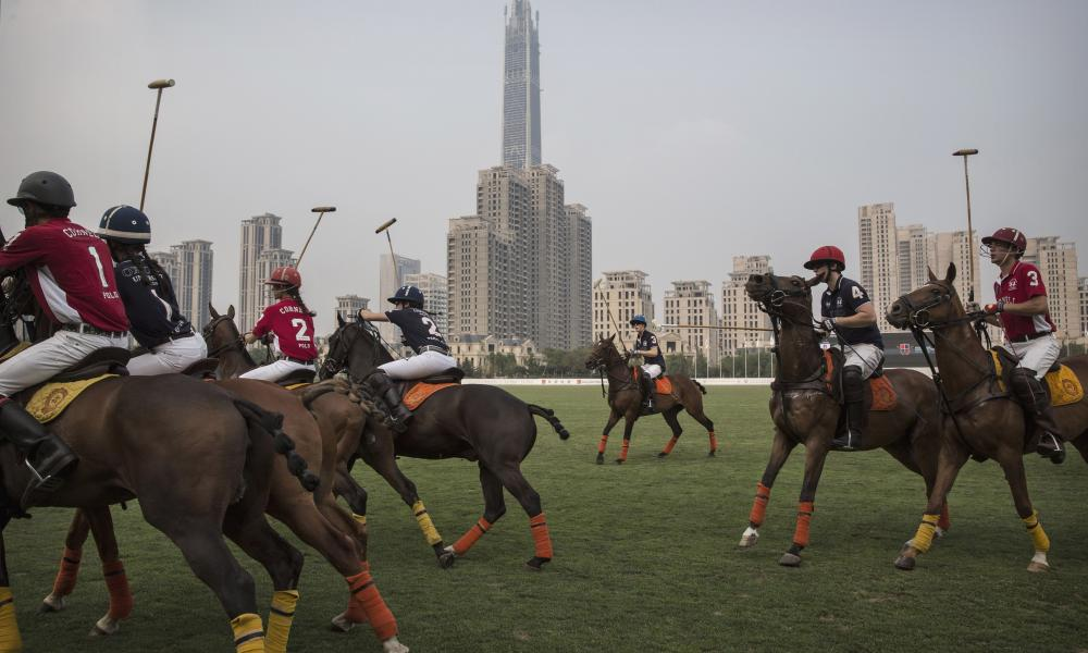Polo teams from Oxford and Cornell universities at the Tianjin Goldin Metropolitan Polo Club in Tianjin in 2016.
