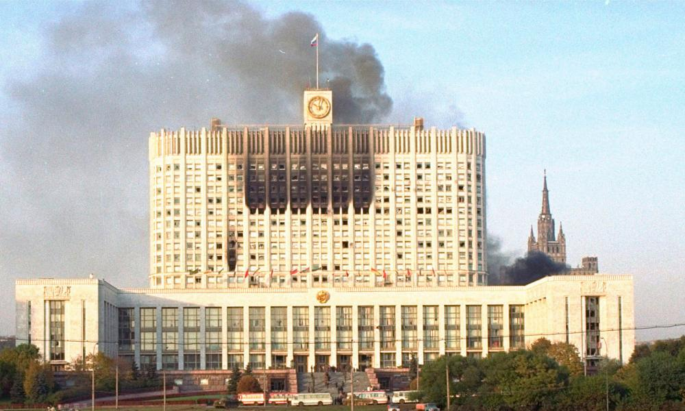 Smoke billowing from Moscow's parliament building on 4 October 1993.
