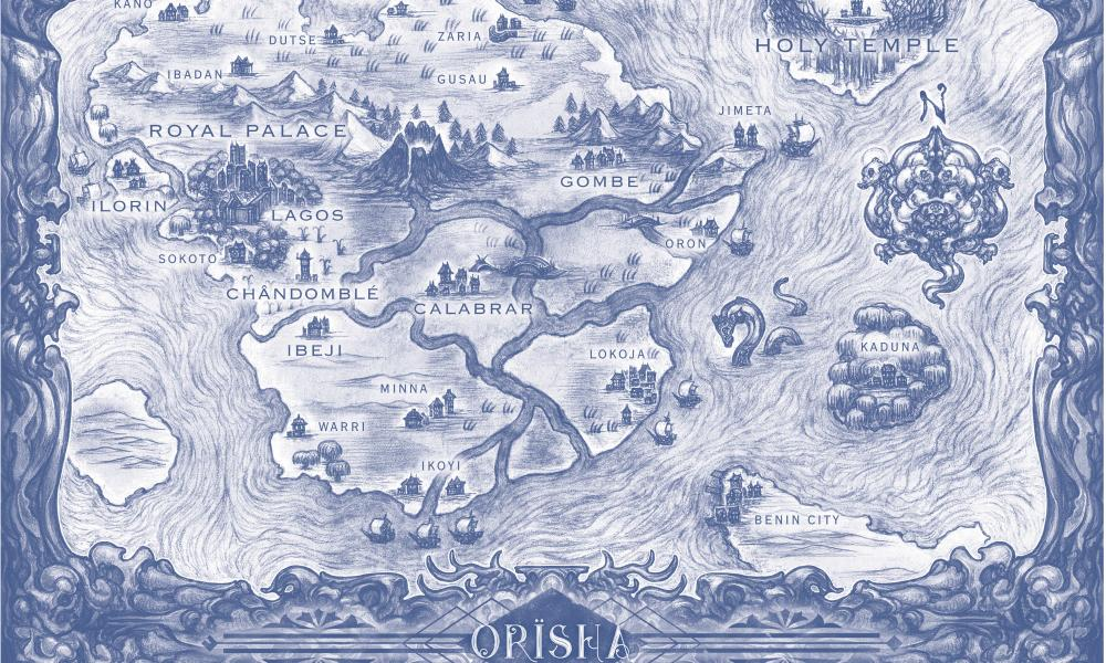 A map of the fantastical land of Orïsha (detail), from Tomi Adeyemi's Children of Blood and Bone