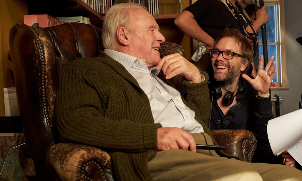 Anthony Hopkins and Florian Zeller on the set of The Father.