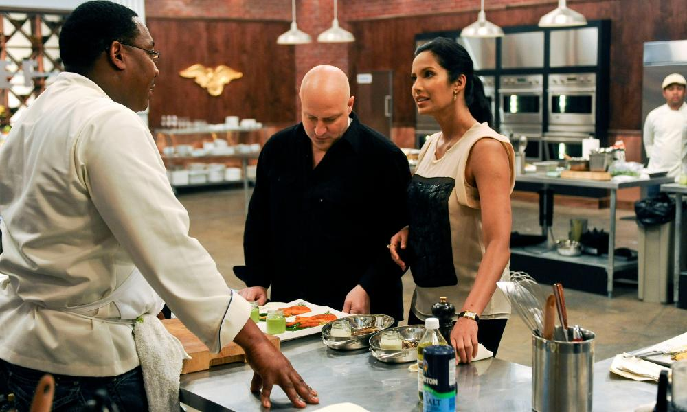 Top Chef judge Tom Colicchio and presenter Padma Lakshmi.