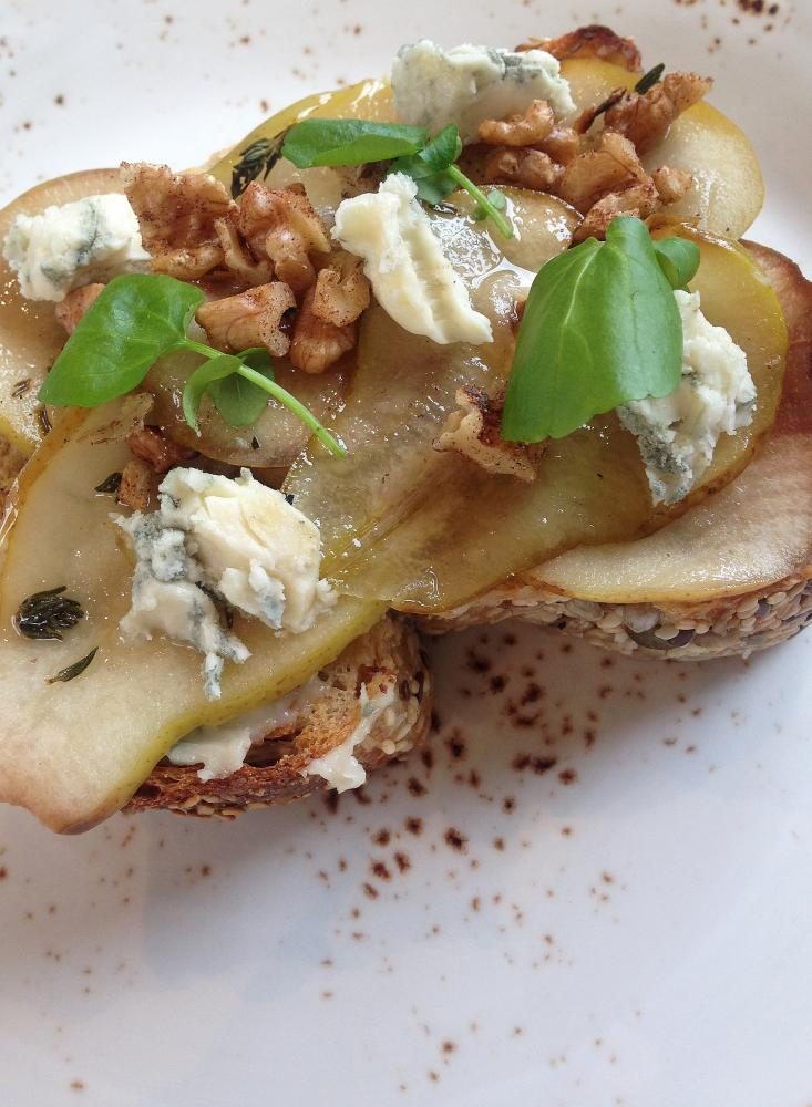 Toast with thyme grilled pears, blue cheese and walnuts at Crompton Coffee in Richmond, Melbourne.