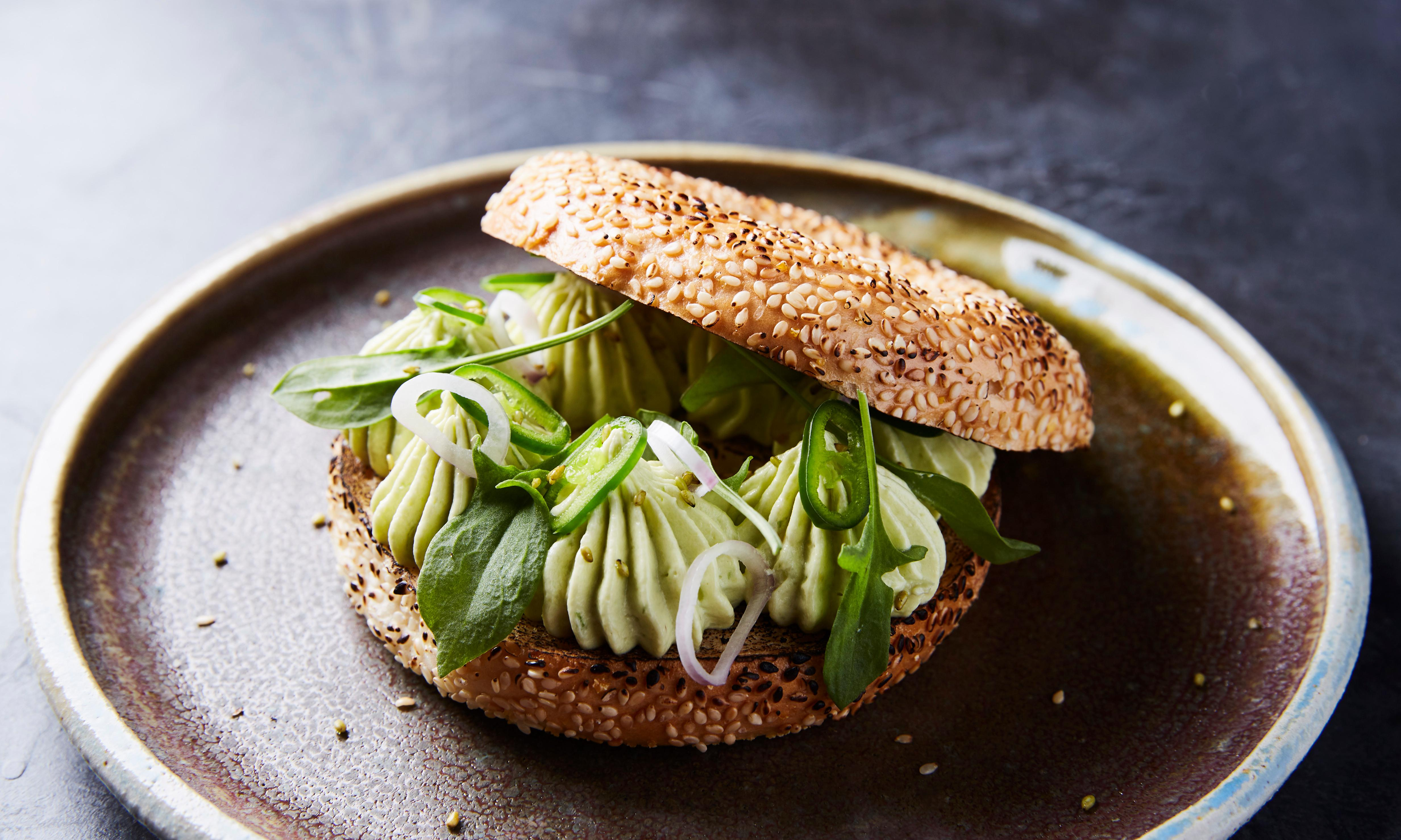 Peter Gunn's sesame bagel with avocado, goat's cheese, green chilli and sorrel recipe