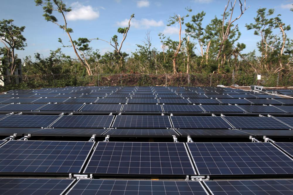 Solar panels set up by Tesla are seen at the San Juan children's hospital in Puerto Rico.