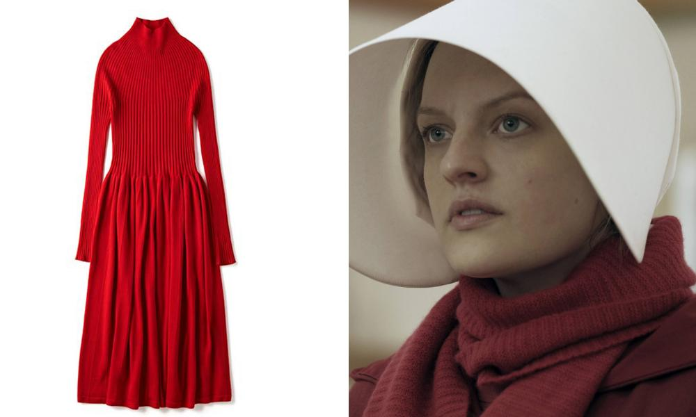Red dress, £49.90, from Uniqlo, and Elisabeth Moss as Offred in The Handmaid's Tale.