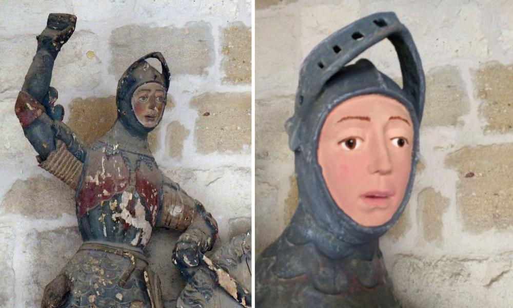 The 16th-century wooden figure of St. George before and after it was restored