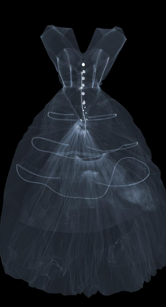 X-ray photograph of an evening dress of silk taffeta, designed by Cristóbal Balenciaga.