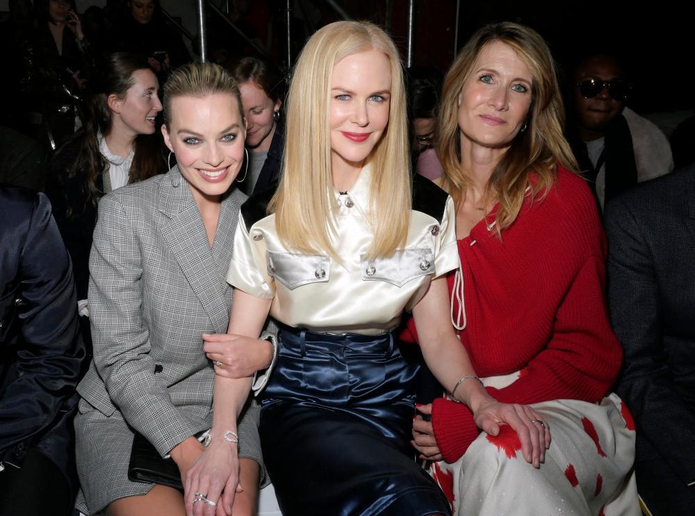 Margot Robbie, Nicole Kidman and Laura Dern in the front row at the Calvin Klein show at New York Fashion Week.