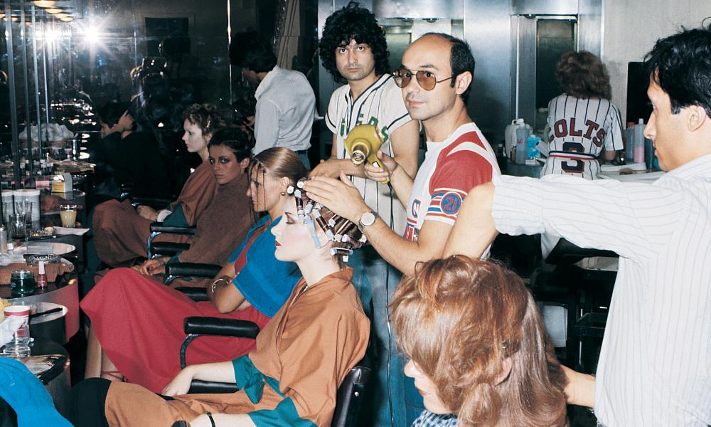 Toni Mascolo, in glasses, working in the very first family salon in Clapham, south London