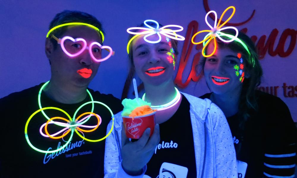 The crew at Gelissimo serve up glow-in-the-dark gelato during Wellington's Lux light festival