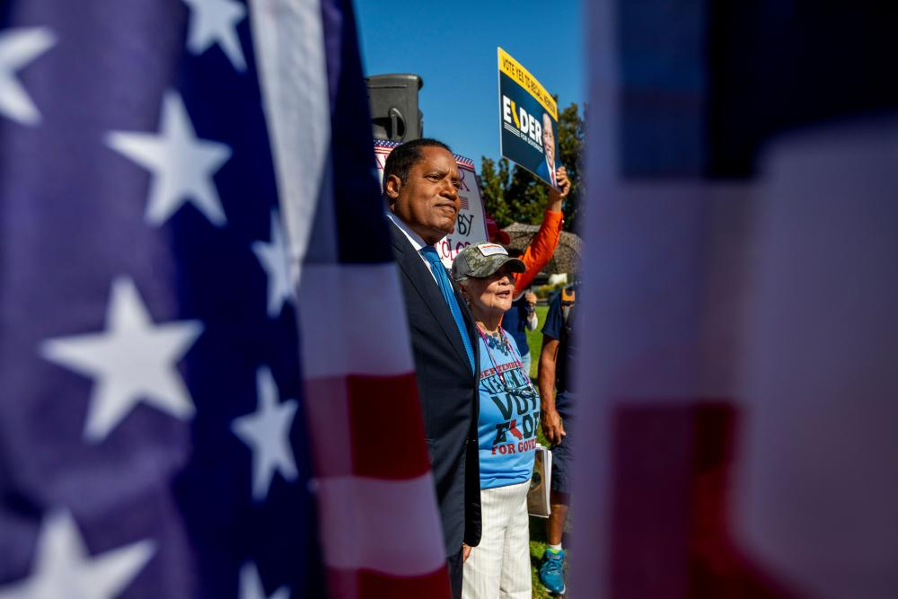Larry Elder campaigns in Los Angeles ahead of the recall.