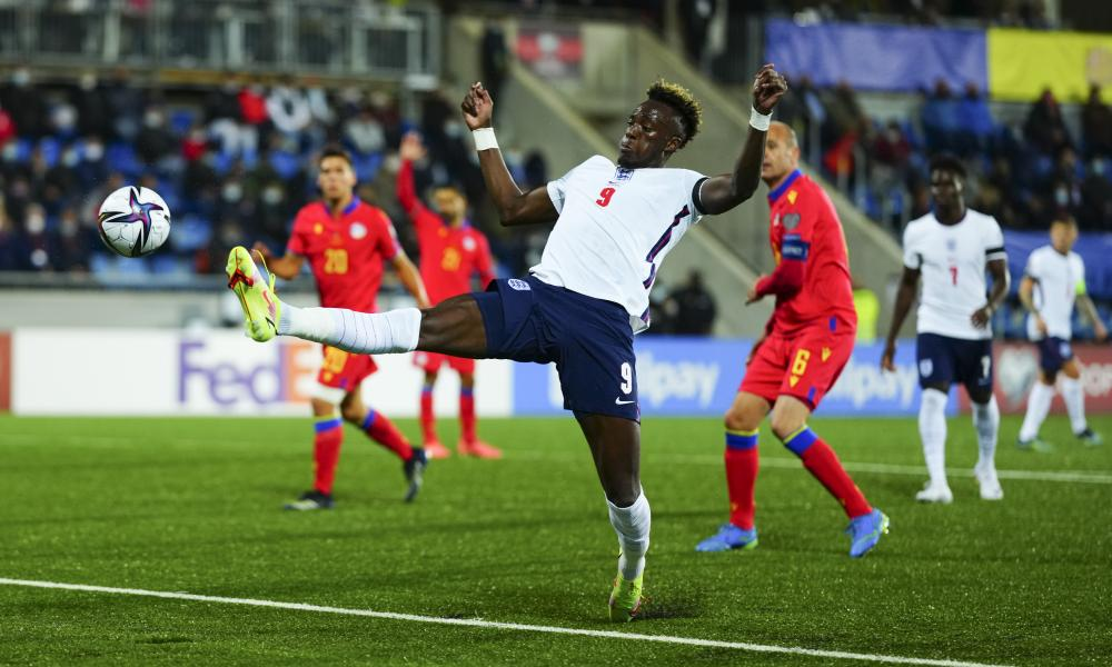 Tammy Abraham stretches to score England's third goal from close range against Andorra.