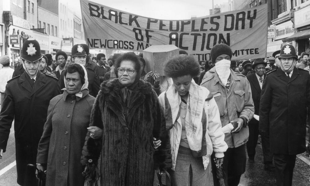 Grieving protesters march from New Cross to the House of Commons on 2 March 1981 alleging a lack of police investigation into a racist motivation for the fire that started in south-east London killing 13 people.