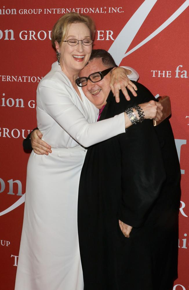 Actor Meryl Streep and designer Alber Elbaz attend the 2015 Fashion Group International's Night of Stars in 2015.